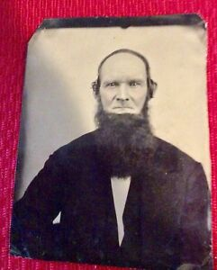 Rare Antique 1860s Tintype Photo Of Man With Beard Cowboy Outlaw Famous Person