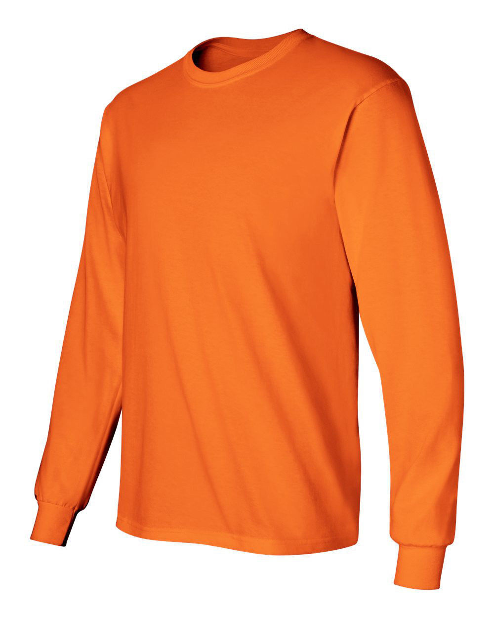 3 Gildan Ultra Cotton Long Sleeve 50 50 SAFETY orange Adult T-Shirts Sizes S-5XL