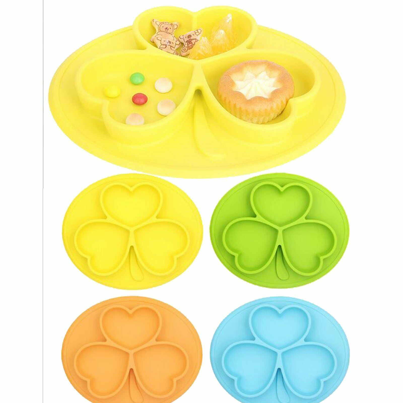 One-Piece Silicone Placemat Food Plate Mat Baby Toddler Child Kids Divided Bowl 9