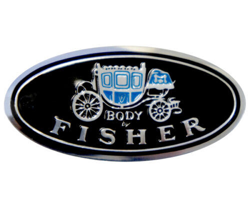 """Chevrolet Door Sill Scuff Plate Decal Emblem /"""" Body by Fisher /"""" GM Each"""