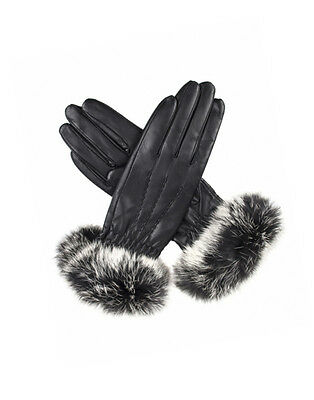 Dents Women's Vanessa Cashmere Lined Leather Gloves with Fur Cuffs - Black