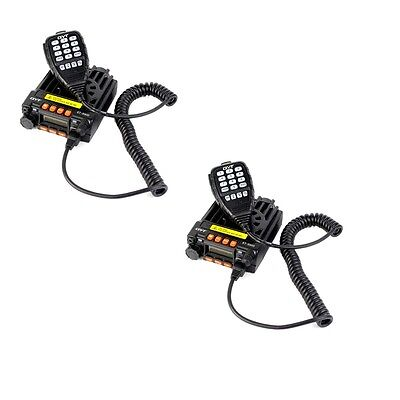 2X 25W UHF+VHF 20W 200CH Mobile Ham Vehicle Radio Transceivers for taxi car+Mic