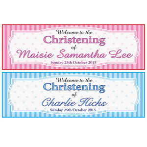 2 personalised christening banners boy or girl 2 for 1 baptism ebay