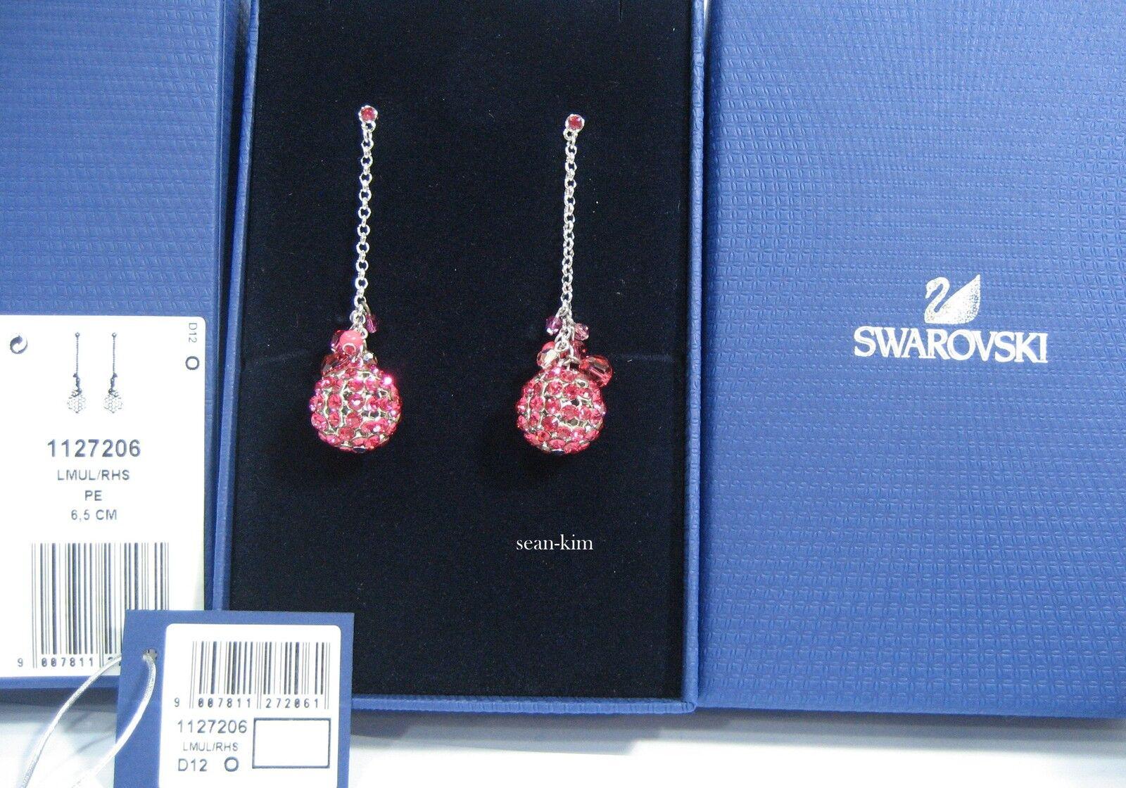 Swarovski Rhum Pierced Earraings Coral Pink Tones Crystal Crystal MIB - 1127206