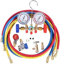 3 Way Ac Manifold Gauge Set Hvac Diagnostic Freon Charging Tool For Auto 5 Hose