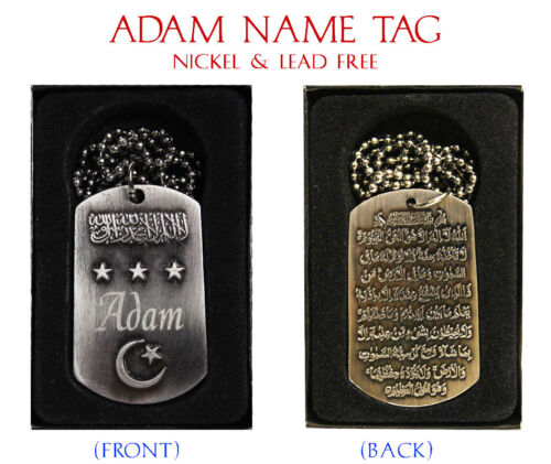 "Birthday Wedding Ayatul Kursi Eid Gifts /""ADAM/"" Mens Arabic Name Necklace Tag"