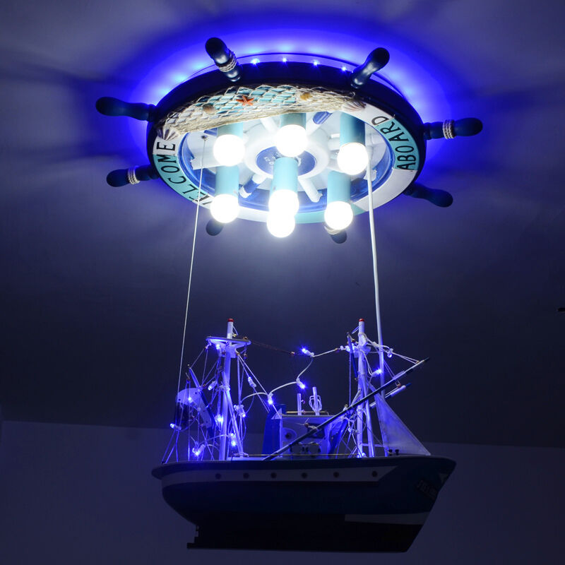 Pirate Ship LED Children Chandelier Kids Ceiling Fixtures Perfect For For For Christmas 084eab