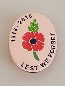 Details about 100th Anniversary Remembrance Day 1918-2018 Poppy Metal Lapel  Pin Badge *DEFECT*
