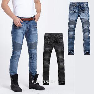9853741c25c Men s Distressed Biker Skinny Slim Fit France Style Jeans Trousers 2 ...