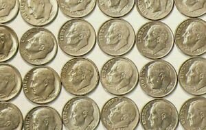 1965-to-2011-US-10-Cents-Roosevelt-Dimes-Lot-of-40-No-Duplicates-4785
