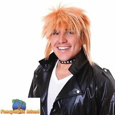 1980/'s BLONDE//PINK SHAGGY SPIKEY MULLET WIG Adults Mens Fancy Dress Costume