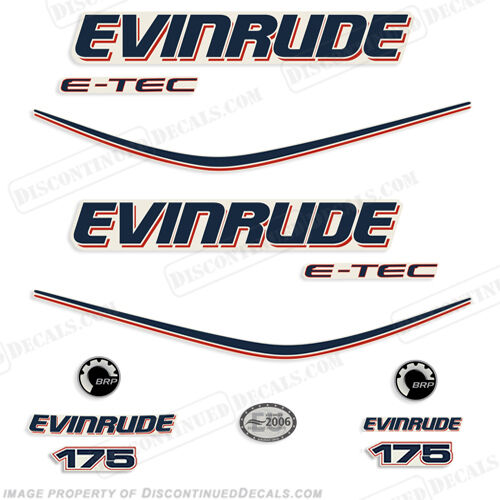 Evinrude 175hp E-Tec Outboard Decal Kit 2010 Engine Stickers