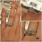 14K White Gold Princess Cut Diamond Engagement Ring Wedding Band Bridal Set