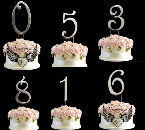 Details About Cake Topper Metallic Silver Birthday Anniversary Numbers Symbol Pick And Shiny