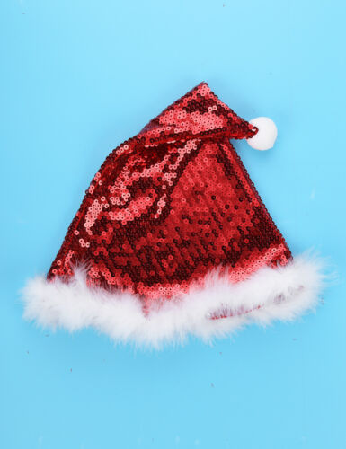 Kids Girls Sequins Christmas Costume Santa Claus Dance Party Dress Hat Outfits