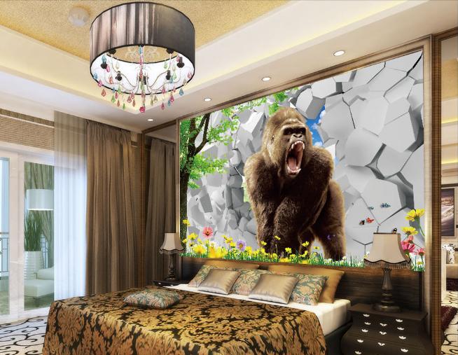 3D Wand Orang Utan Baum 7885 Tapete Wandgemälde Tapeten Bild Familie DE Summer