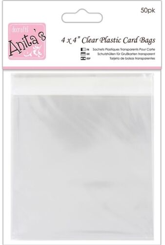 "Anita/'s Cellophane Card Bags  4/"" x 4/"" 120 x 120 mm ANT 1651008 50 Pack"