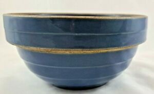 Vintage-Blue-Crock-Banded-Mixing-Bowl-USA-8-In