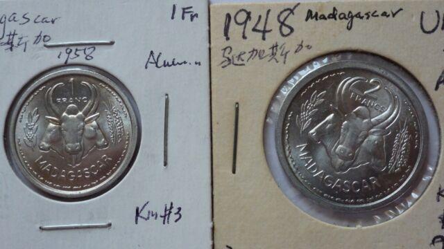 Madagascar 1, 2 Francs, 1958,1948, BU, KM#3,4