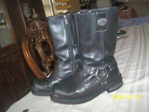 Harley-Davidson-Men-039-s-Black-Leather-Boots-Sz-9-Cowboy-Style-Zipper-Nice-Pair