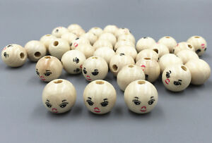 DIY 40PCS Wooden Round Painted Smile Face Lovely Loose Beads craft beads 14mm