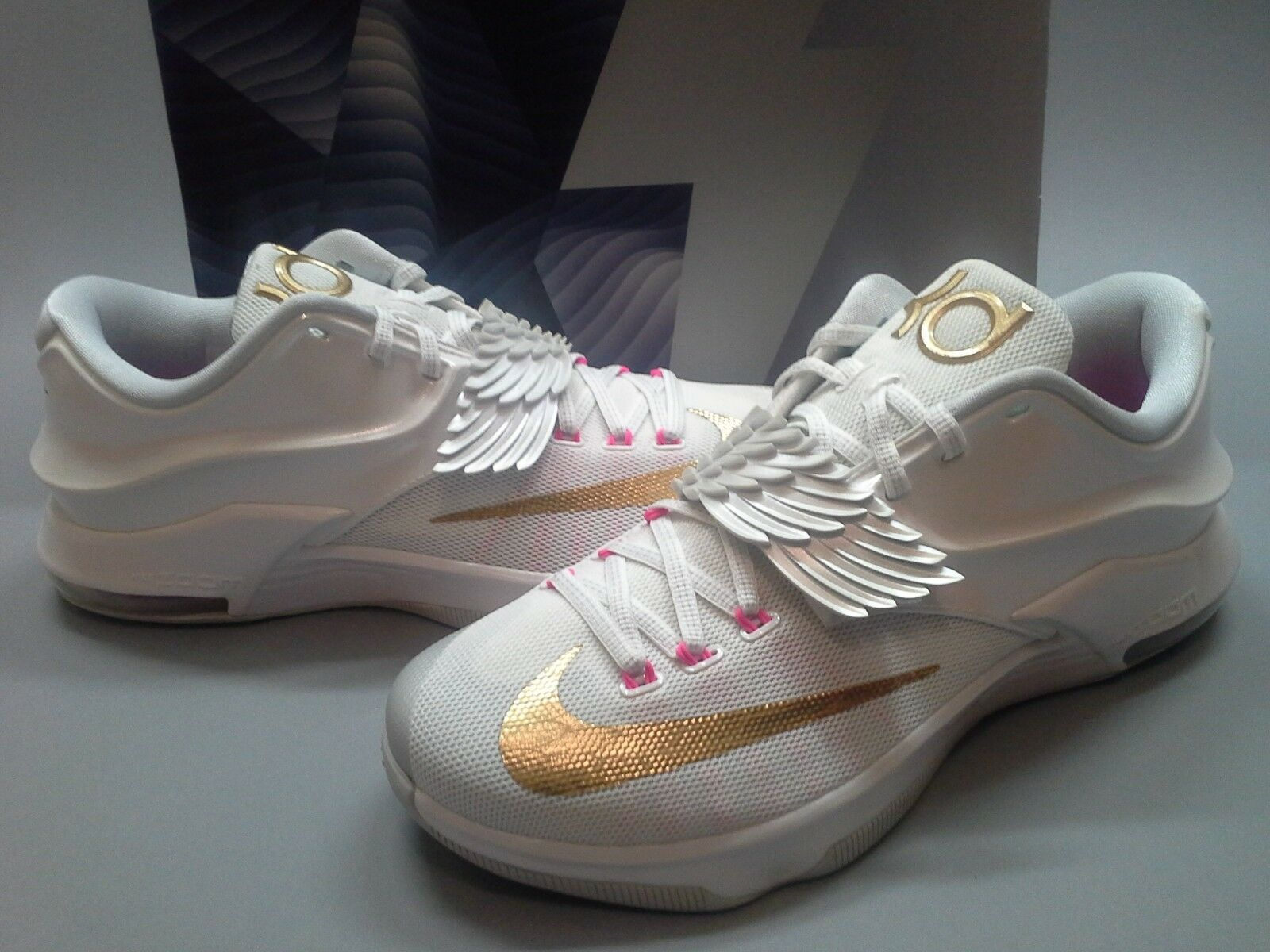 New Nike KD 7 VII PRM Aunt Pearl 706858-176 White Pink Gold Kay Yow Kevin Durant The latest discount shoes for men and women