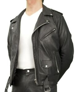 MENS-REAL-LEATHER-BRANDO-MORTORBIKE-MOTORCYCLE-80S-BIKER-JACKET-All-Sizes-PADDED