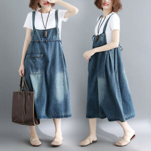 Details about Womens Casual Loose Denim Overall Dress Jean Bib Suspender  Skirt Baggy Plus Size