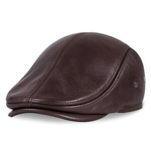 e77211560b9 Men s Genuine Leather baseball Cap Gatsby Ivy at Newsboy Beret ...
