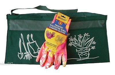 Guanti Donna giardinieri Giardinaggio Taglia 7 o 8 e 2 Tasche Grembiule Set FREEPOST!