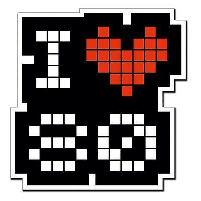 2 x I love 80 80/'s Heart Retro Vinyl Sticker Laptop Travel Luggage #4015