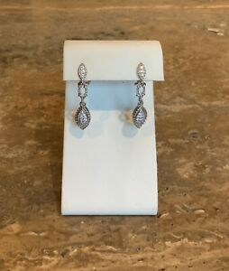 034-JUDITH-RIPKA-034-STERLING-PAVE-DIAMONIQUE-DROP-DANGLE-PIERCED-EARRINGS-GORGEOUS