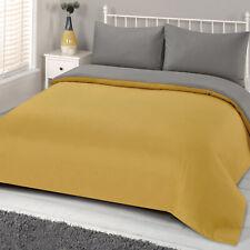 Brentfords Reversible Mustard Duvet Cover with Pillowcase Ochre Grey Bedding Set