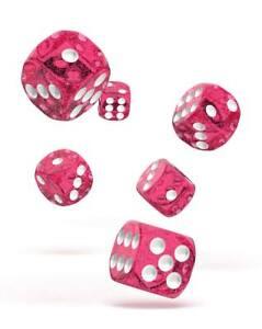 Oakie-Dados-16mm-W6-Cubo-Speckled-Rosa-12-D6-Tablero-de-Mesa-Brillo