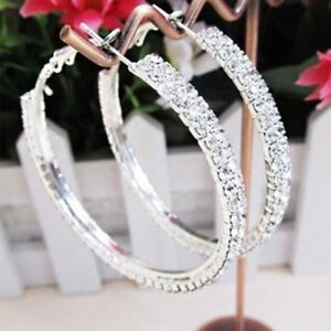 Large-Hoop-Earrings-Diamante-Bridal-Round-Rhinestone-Gold-Silver-2-Rows-Crystal