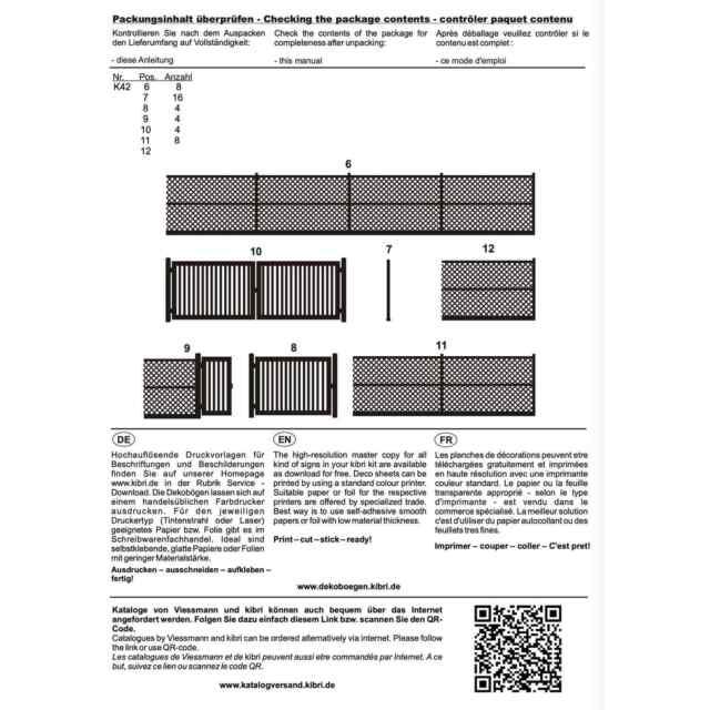 Bausatz Kibri 38605 Maschendrahtzaun grau 280cm H0