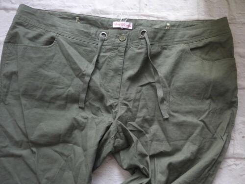 Sheego Pantalon Bermuda 7//8 corsaire lin part taille 44 bi 56 Kaki 519 403
