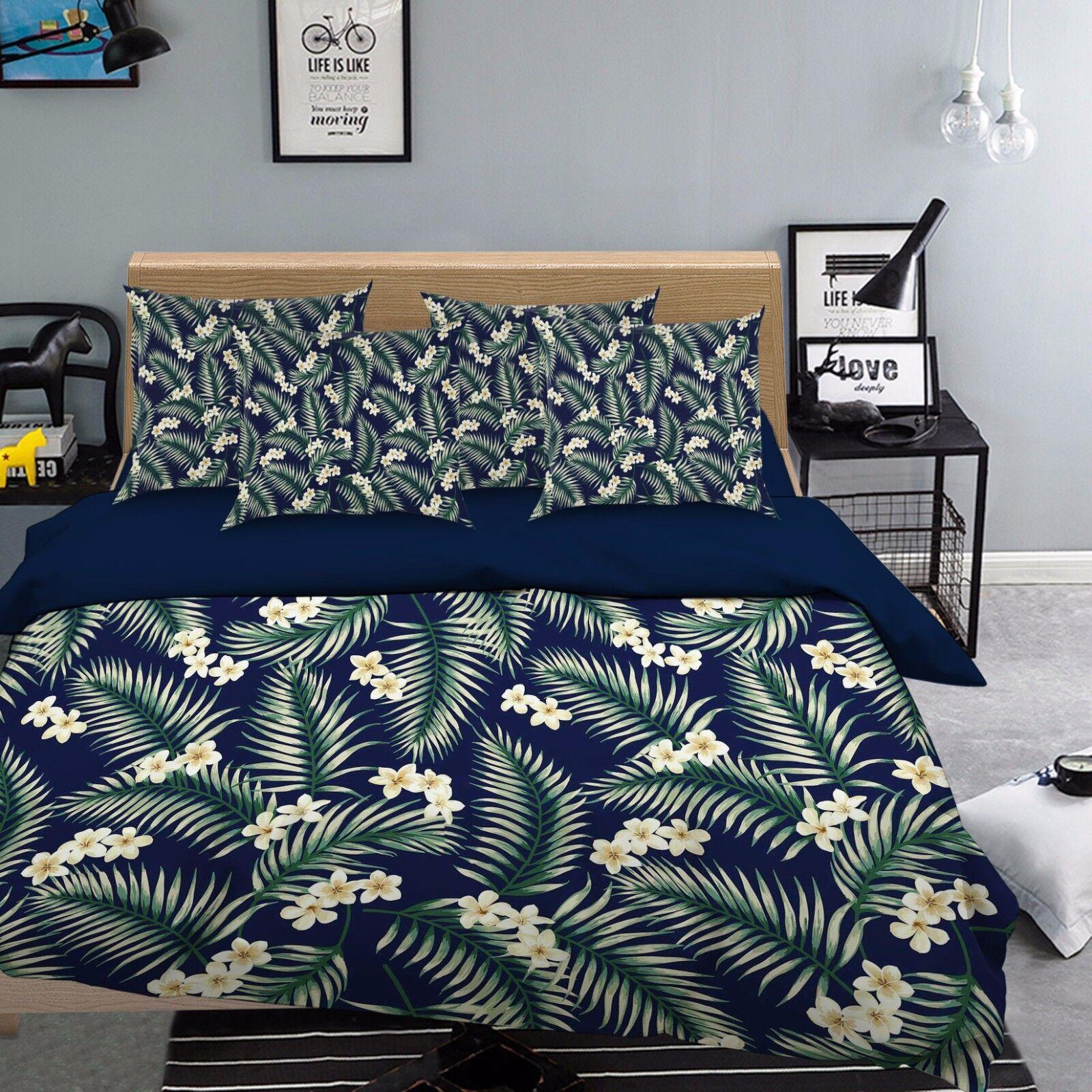 3D Petal Plant Leaves 57 Bed Pillowcases Quilt Duvet Cover Set Single Queen CA