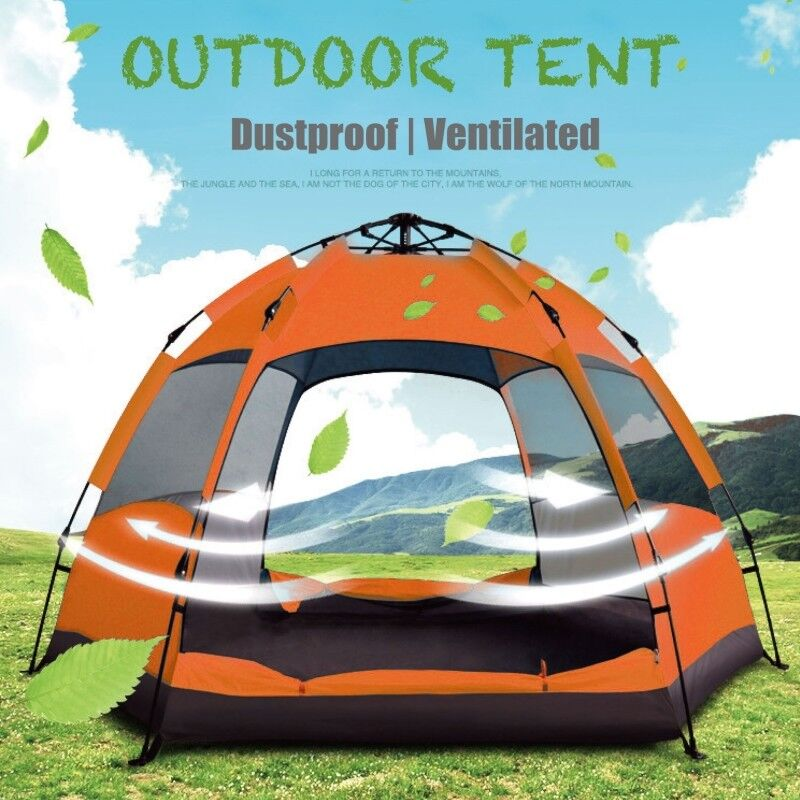 3-4 5-8 People Tent Camping Mat Large Family orange Tent Vestibule Shelter Camp