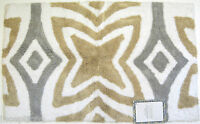 Candice Collection Cotton Bath Rug 21x 34 Four Pt Flower Grey Khaki White -