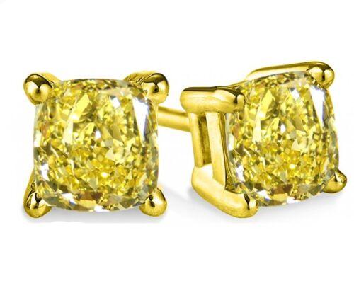 1.00 Ct Fancy Canary YellowCushion Diamond Studs Earrings Man Made 14k SE051015