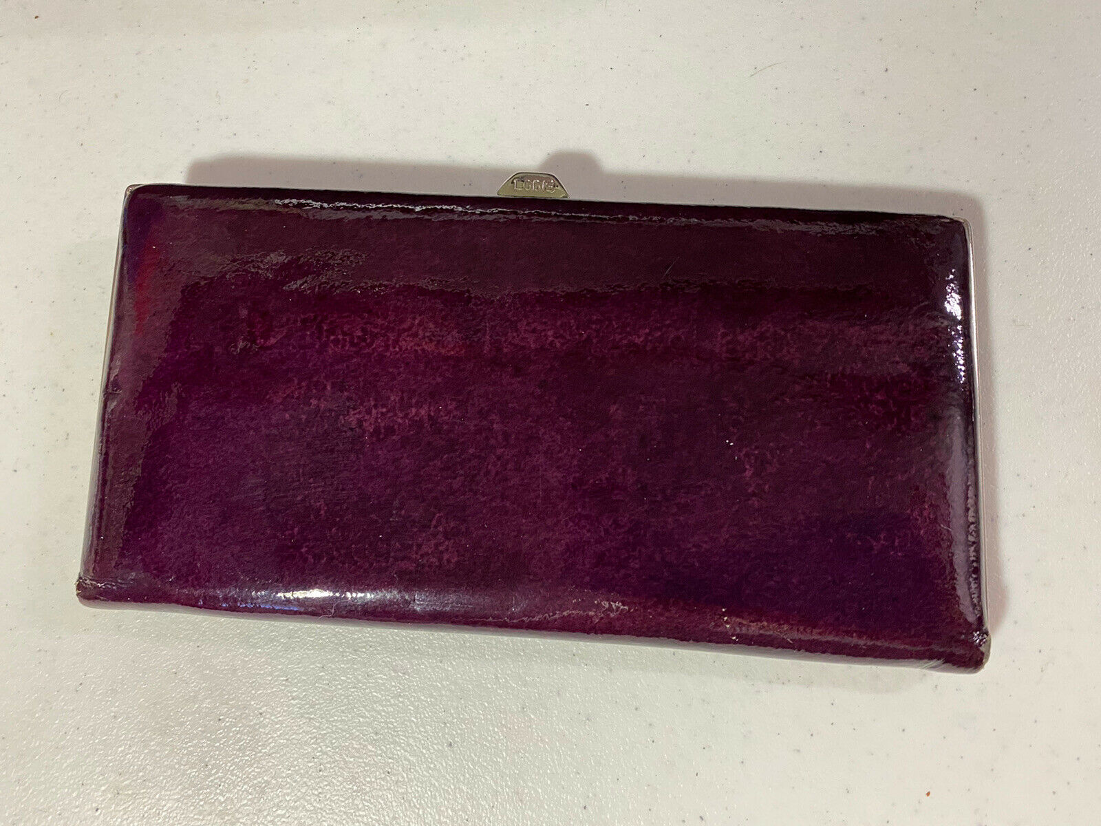 LODIS Purple Iridescent Patent Leather Framed Clutch Wallet