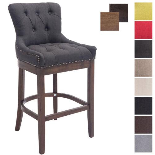 Tabouret de bar BUCKINGHAM tissu chaise haute design en bois avec repose pied