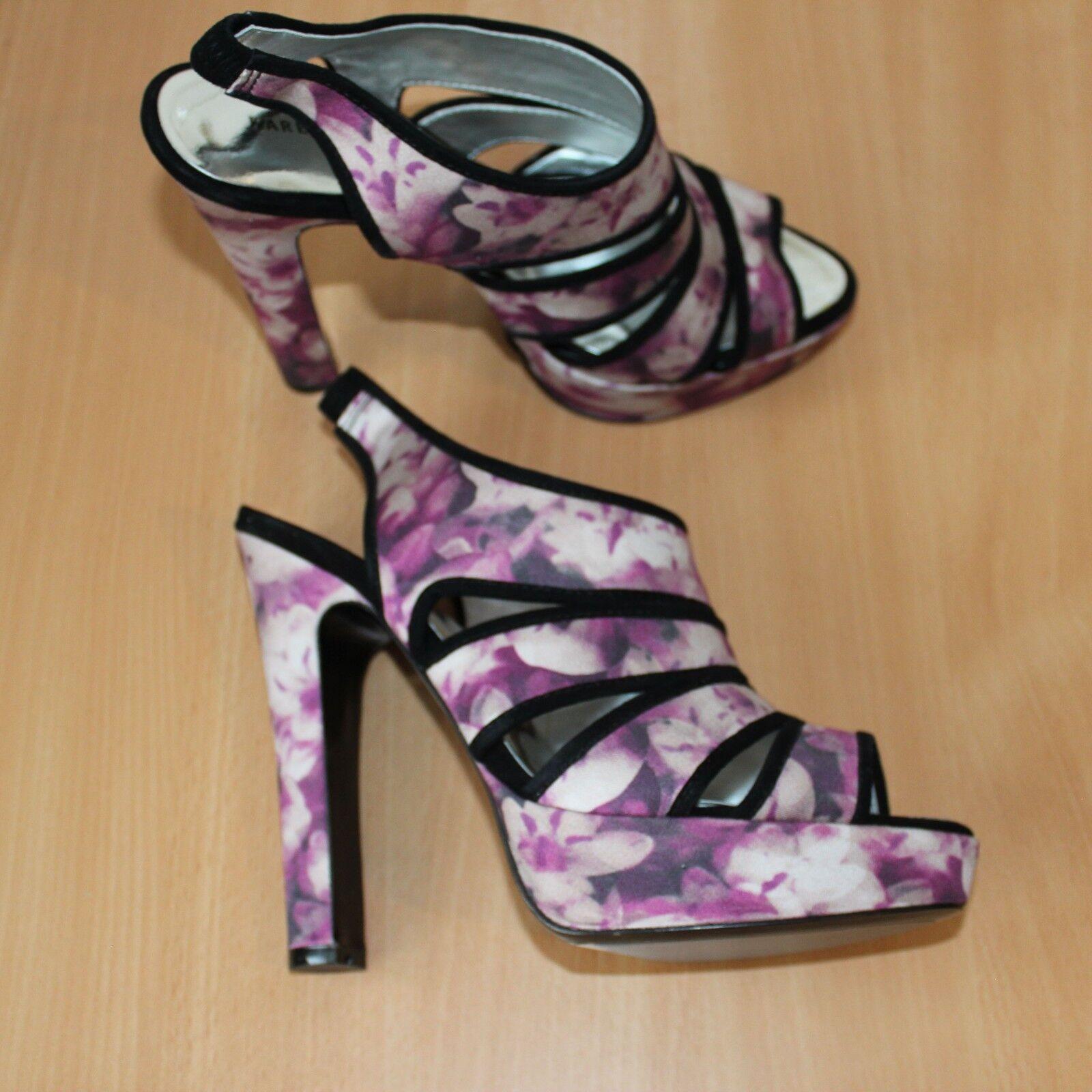 Karen Millen Imprimé Imprimé Imprimé Floral Chaussures Compensées Sandales Talons Hauts Fête Soirée 6 UK 39 UE 01ea33