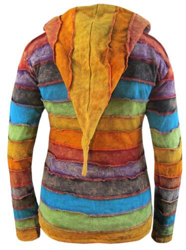 Mesdames hippie Rayures Arc-En-Ciel Hiver PIXIE pointu long capuche veste sweat à capuche ELF