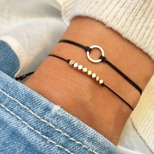 2Pcs-Set-Fashion-Black-Rope-Chain-Charms-Bracelet-Bangle-Jewelry-Accessor-JT