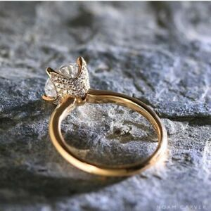 18K ROSE GOLD FILLED ELEGANT TULIP DESIGN WHITE TOPAZ RING SIZE L 1/2 POPULAR !