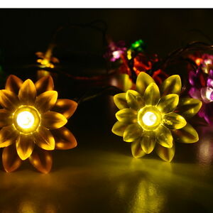 led lichterkette flowers blumen bunt innen ebay. Black Bedroom Furniture Sets. Home Design Ideas