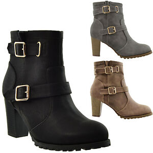 ca1ce71ef7 Womens Ankle Boots Combat Fold Over Fleece Cuff Lace Up Chunky High ...