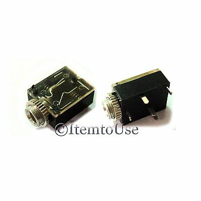 5 Pcs 3.5mm Headphone Stereo Jack Socket Chassis Switch with nut PCB Panel Mount
